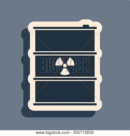Black Radioactive Waste In Barrel Icon Isolated On Grey Background. Radioactive Garbage Emissions, E