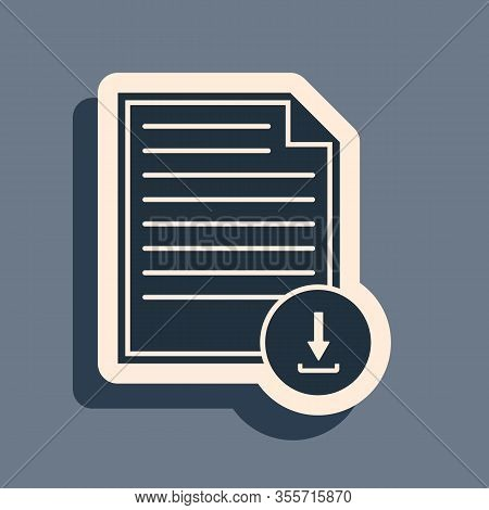 Black Document With Download Sign Icon Isolated On Grey Background. File Document Symbol. Long Shado
