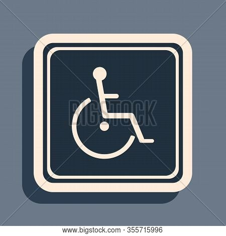 Black Disabled Handicap Icon Isolated On Grey Background. Wheelchair Handicap Sign. Long Shadow Styl