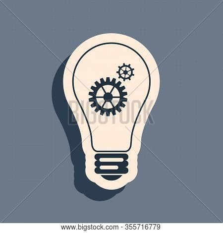 Black Light Bulb And Gear Inside Icon Isolated On Grey Background. Innovation Concept. Long Shadow S