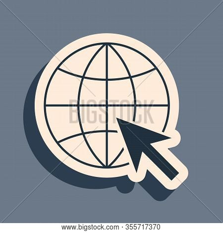 Black Go To Web Icon Isolated On Grey Background. Globe And Cursor. Website Pictogram. World Wide We