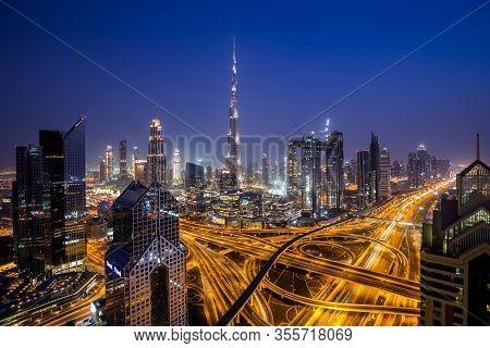 Dubai, Uae - July 19, 2018: Beautiful View Of Dubai Skyline At Night.