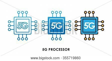 5G, 5G Processor icon, 5G vector, 5G icon vector, 5G logo, 5G symbol, 5G sign, 5G icon design. 5G Processor icon vector illustration. 5G CPU Engine vector template design. 5G network technology vector illustration for web, logo, app, UI.