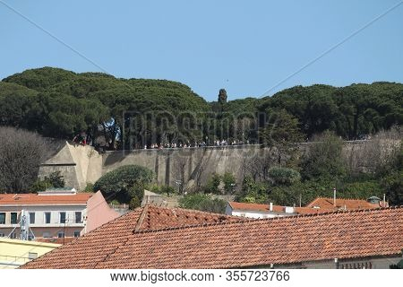 Lisbon, Portugal- March 9, 2020: Beautiful Nossa Senhora Do Monte Viewpoint In Lisbon In March