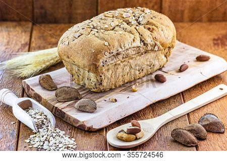 Gourmet Bread Made From Brazil Nuts And Oats. Healthy Bread, Brazilian Cuisine. Brazil Nuts Are Know
