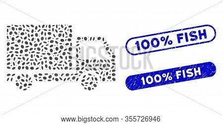 Mosaic Delivery Lorry And Grunge Stamp Seals With 100 Percent Fish Phrase. Mosaic Vector Delivery Lo