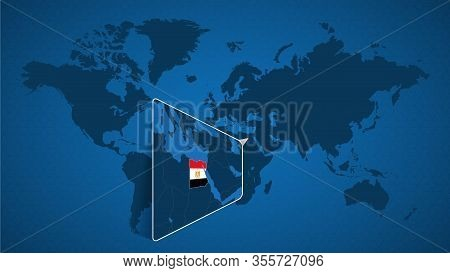 Detailed World Map With Pinned Enlarged Map Of Egypt And Neighboring Countries. Egypt Flag And Map.