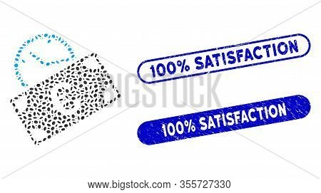 Mosaic Euro Recurring Payment And Rubber Stamp Seals With 100 Percent Satisfaction Phrase. Mosaic Ve