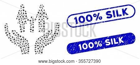 Mosaic Family Care Hands And Distressed Stamp Seals With 100 Percent Silk Phrase. Mosaic Vector Fami