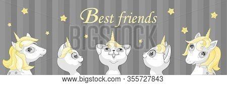 White Kitten Unicorn Pony Horse Cat  Illustration Vector