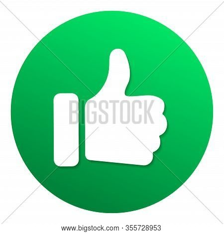 Green Recommended Label With Thumb Up. Web Button For Online Shop. Circle Vector Banner Social Media