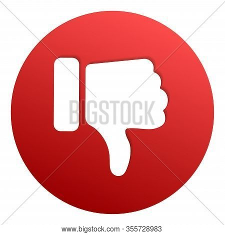 Thumbs Down Red Circle Isolated Vector Dislike Social Media Signs. Recommendation Icon, Bad Choice L