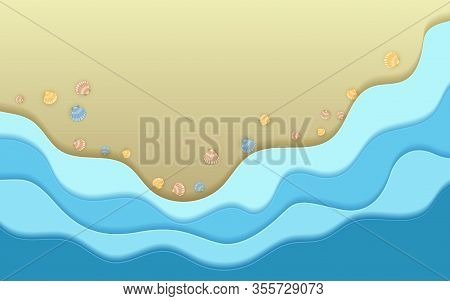 Sand Beach, Ocean Blue Coastal Waves And Sea Shells Summer Background Vector Illustration. Paper Cut