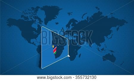 Detailed World Map With Pinned Enlarged Map Of Namibia And Neighboring Countries. Namibia Flag And M