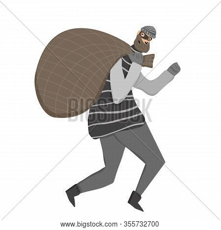 Thief With Bag Running Away. Man Dressed In Striped Shirt, Hat And Mask Sneaking With Looted Propert