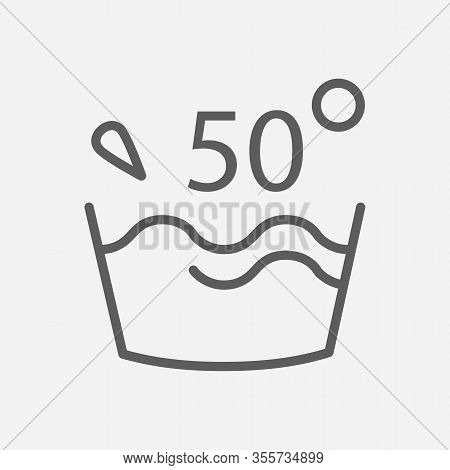 Water Temperature 50 Deg Icon Line Symbol. Isolated Vector Illustration Of Icon Sign Concept For You