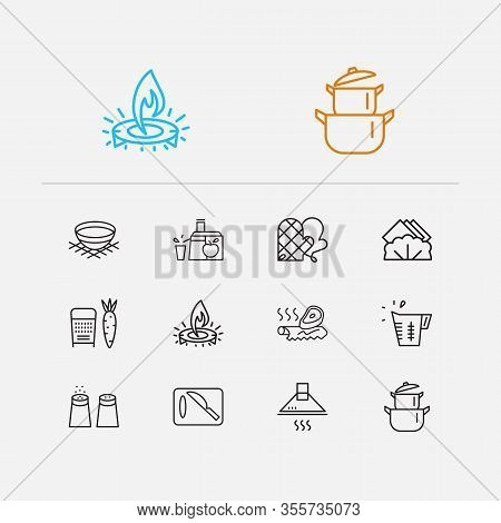 Kitchenware Icons Set. Juicer And Kitchenware Icons With Gas Burner, Napkins And Cutting Board. Set