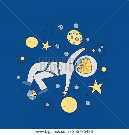 Female Astronaut Dressed In Helmet. Young Woman Wearing An Spacesuit Floating In Universe. Spacewoma