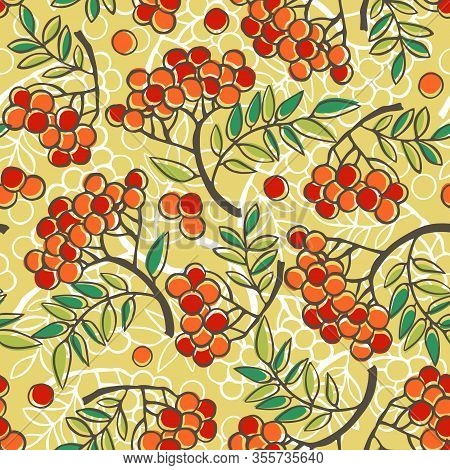 Rowanberry Vector Nature Seamless Pattern, Template For Textile.