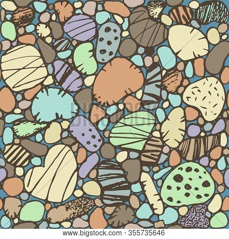 Hand Drawn Sea Stones Stylization Seamless Color Pattern