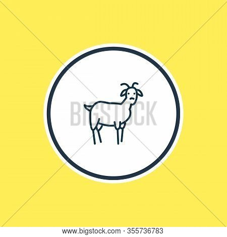 Vector Illustration Of Goat Icon Line. Beautiful Zoology Element Also Can Be Used As Ungulate Icon E