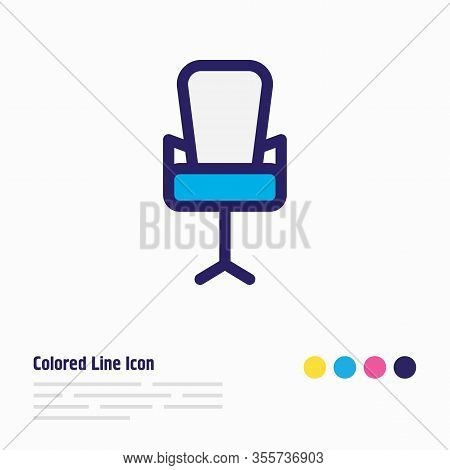 Illustration Of Office Chair Icon Colored Line. Beautiful Workplace Element Also Can Be Used As Ergo