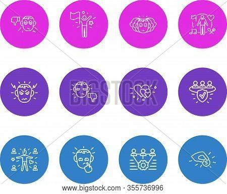 Illustration Of 12 Emoticon Icons Line Style. Editable Set Of Success, Pessimistic, Unsatisfied And