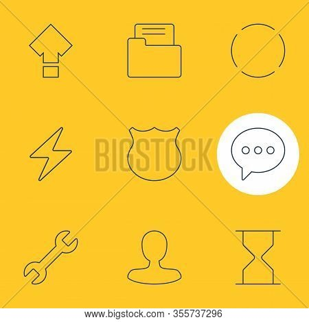 Vector Illustration Of 9 Ui Icons Line Style. Editable Set Of Shield, Reload, E-mail And Other Icon
