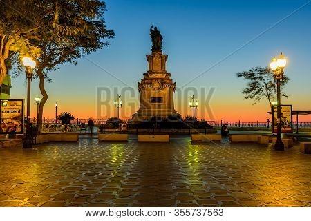 Tarragona, Spain - January 3, 2020: Cityscape Of Tarragona. Rambla Nova Promenade With Illumination