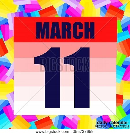 March 11 Icon. For Planning Important Day. Banner For Holidays And Special Days. March 11. Vector Il