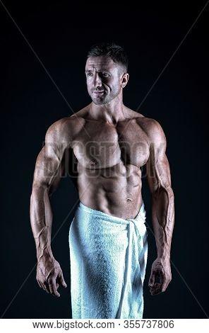 Enjoy Your Bath. Athletic Man In Bath Towel. Sexy Athlete Black Background. Post Workout Bath. Sport