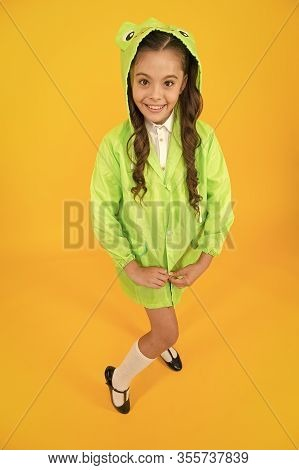 Waterproof Accessory. Kid Girl Happy Wear Raincoat. Cute Raincoat Kids Would Love. Frog Style. Schoo