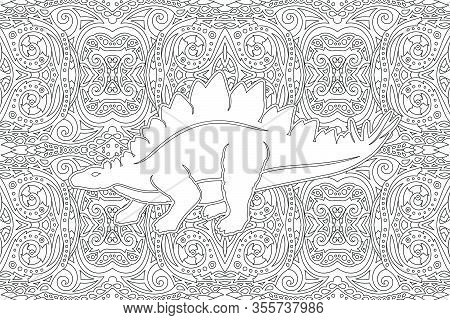 Beautiful Monochrome Illustration For Coloring Book With White Stegosaurus Silhouette On The Abstrac
