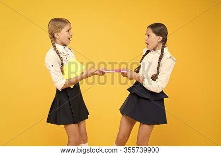Jealous Friend. Greedy Kids Concept. Sisters Relations Issues. Share Book With Friend. Classmates Ri