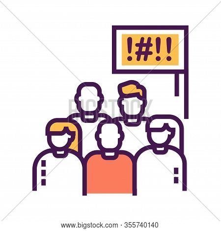 Social Protest Line Color Icon. Manifestations Of Civil Unrest. Group Of People Strike. Pictogram Fo