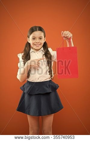 Buy School Supplies. Girl Holding Shopping Bag. Prepare For School Season Buy Supplies Stationery Cl