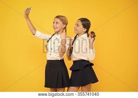 For My Profile. Kids Make Selfie Photo, Friendship. Small Girls In School Uniform. Back To School. E