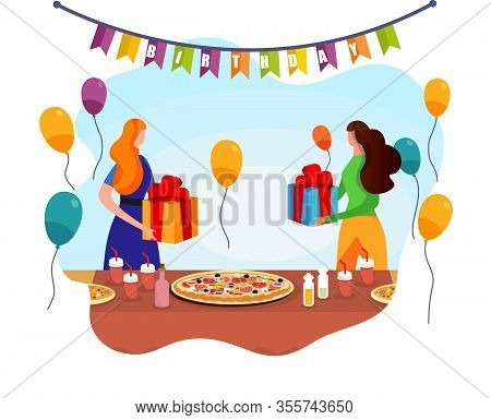 Birthday Celebration. Surprise Present. Adorable Women Swapping With Gifts Near Table With Pizza And
