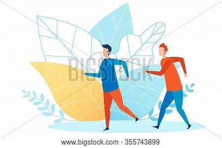 Athletic Event Runners Flat Vector Illustration. Two Friends, Men Rushing In Haste Cartoon Character
