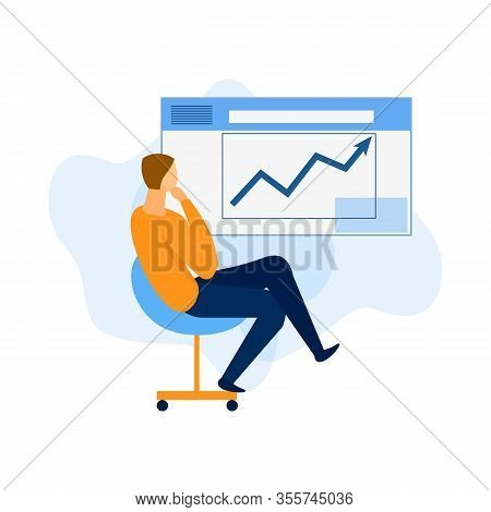 Business Manager Is Developing Project. Business Project Analysis. Successful Business. Online Confe