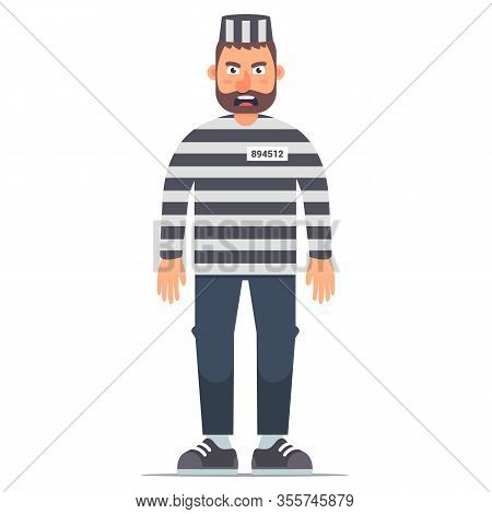 Full-length Isolated Prisoner In Striped Clothing On A White Background. Flat Vector Illustration Of