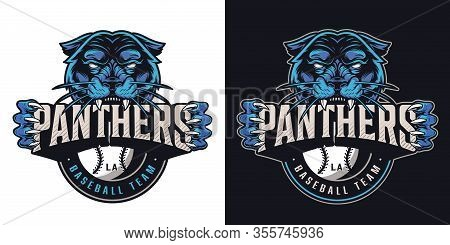 Vintage Baseball Sports Club Logotype With Aggressive Black Panther Holding Team Name Inscription Is