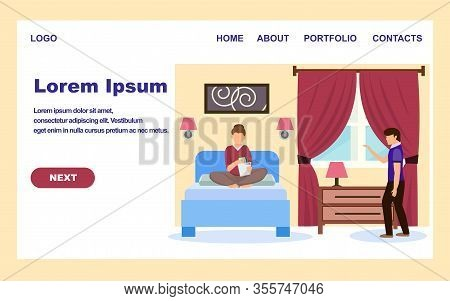 Hotel Banner. Cartoon Woman In Hotel Apartment, Man Manager Welcome Female Guest Vector Illustration