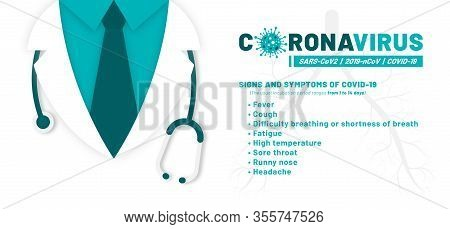 Coronavirus Disease, Corona Virus Infographics, Signs And Symptoms. Severe Acute Respiratory Syndrom