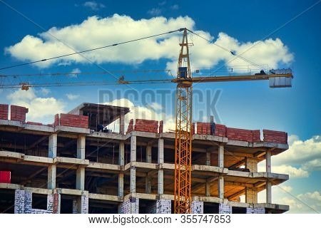 Construction Site With Crane And Building. Indusrtrial Background.