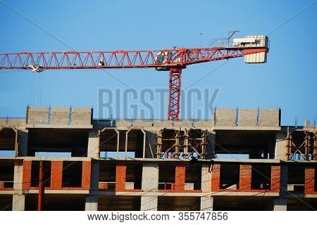 Construction Site With Crane And Building. Industrial Background.