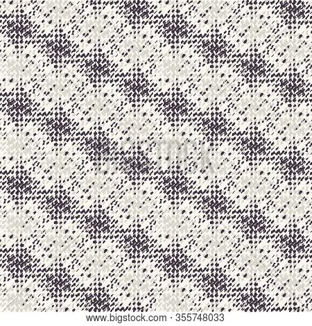 Monochrome Broken Glitch Stripe Texture Background. Distressed Diagonal Dashed Line Dotted Seamless