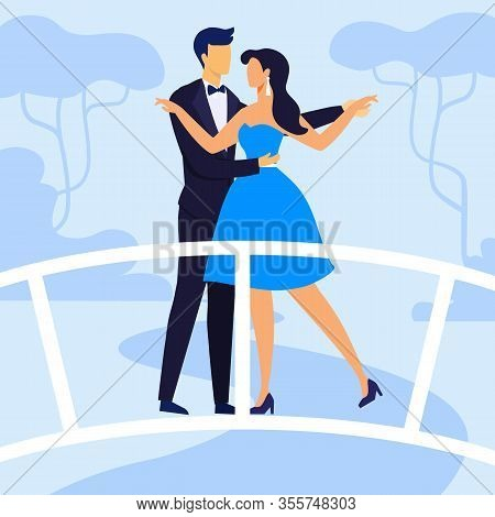 Couple In Holiday Clothes Flat Vector Illustration. Man In Tuxedo, Woman In Dress Cartoon Characters