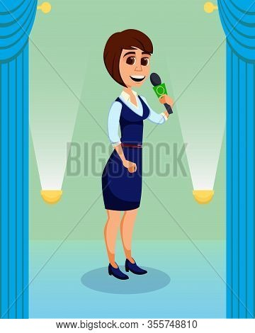 Creative Woman Giving Talk On Stage To Audience. Cartoon Reporter, Show Diva Character. Flat Podium