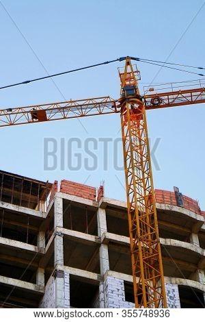 Crane.construction Site. Construction Site With Crane And Building.